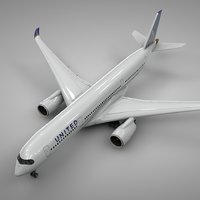 3D airbus a350-900 united airlines
