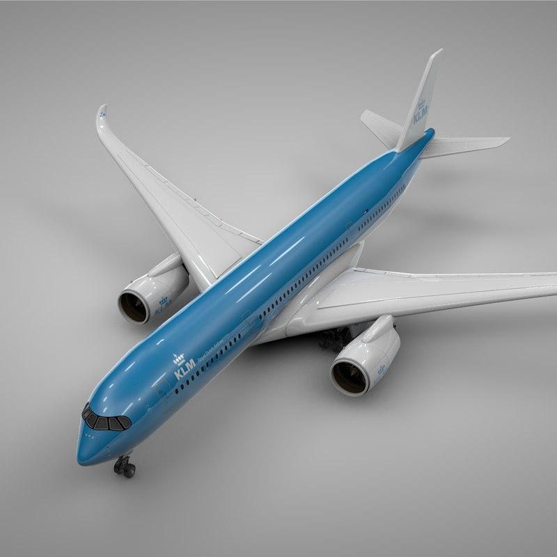 3D airbus a350-900 klm l223 model