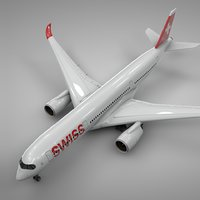 3D airbus a350-900 swiss air model