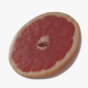 3D half pink grapefruit