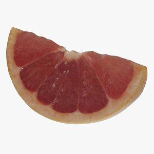 3D slice pink grapefruit model