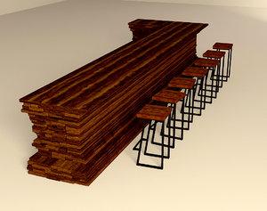 3D model bar counter chairs