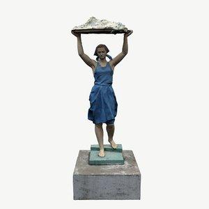 3D model scanned sculpture girl