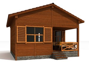 3D model holiday house cottage bungalow