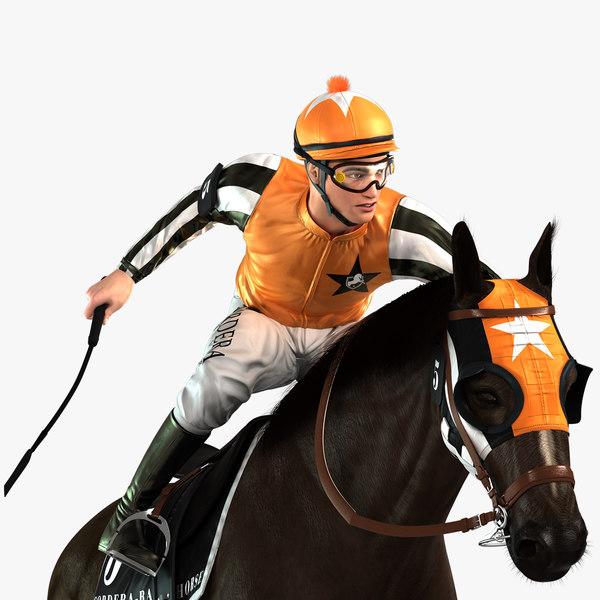 3D horse animations jockey model