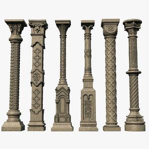 3D gothic columns model