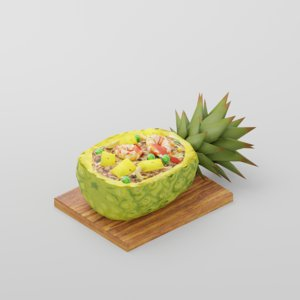 3D pineapple fried rice model