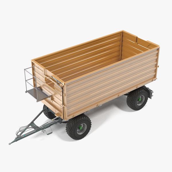farming dump trailer clean 3D model