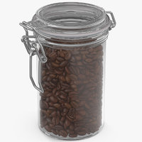 3D coffee beans roasted glass jar