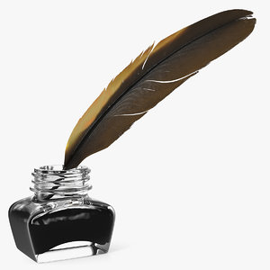 quill dark feather ink 3D model