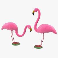 pink flamingo lawn decor model