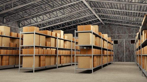 3D industrial warehouse interior