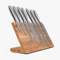 3D stainless steel knife set model