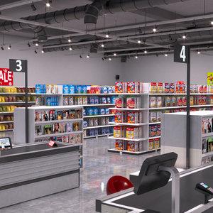 3D model supermarket store shopping