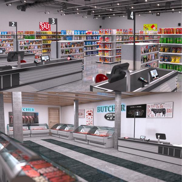 3D supermarket shop