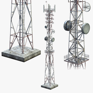 low-poly communication tower model
