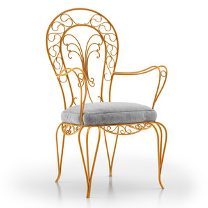 3D wrought iron armchair