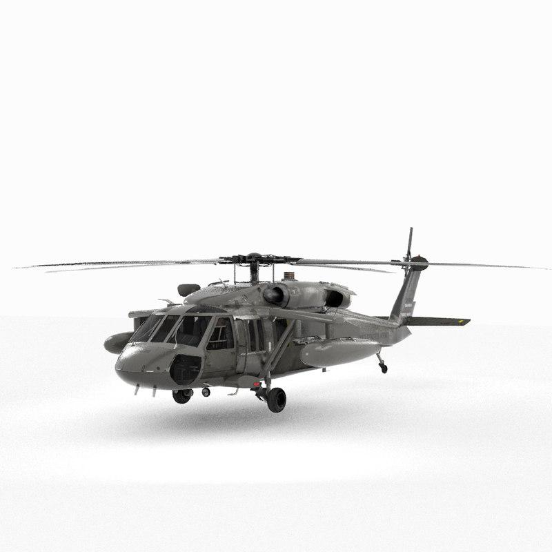 3D sikorsky black hawk military helicopter model