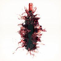 3D wine splash bottle 1