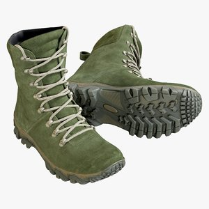 3D realistic boots military green model