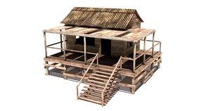 wooden shack 3D