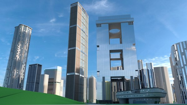 3D buildings skyscrapers model