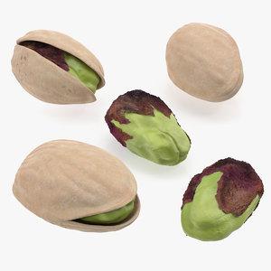 3D set pistachios roasted
