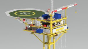 wellhead platform minimum facility 3D model