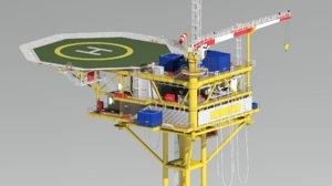wellhead platform minimum facility 3D model