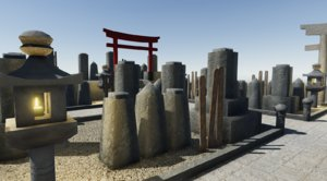 japanese graveyard 3D model