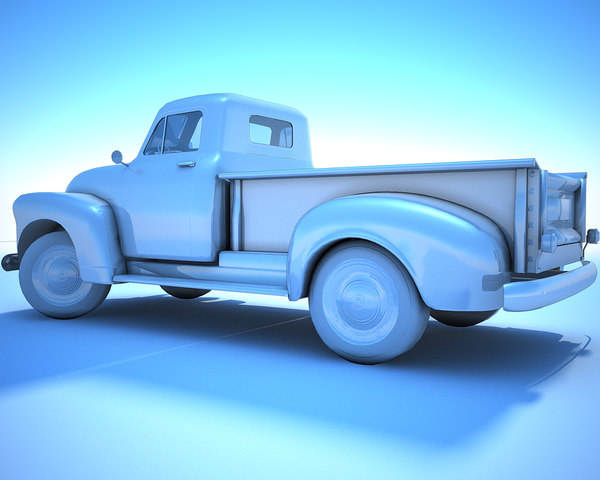 generic white retro pickup 3D model