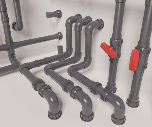 3D pvc modular pipe set model