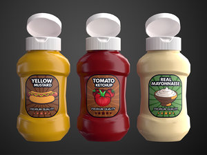 3D model cartoon sauce bottles