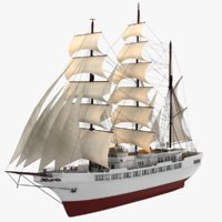 3D clipper sailing ship argosy