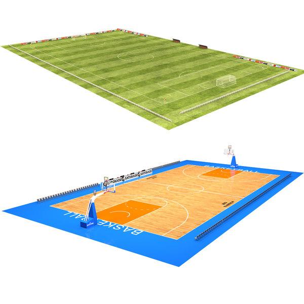 soccer field basketball court 3D
