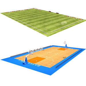 soccer field basketball court 3D