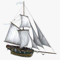 3D sea sailing ship model