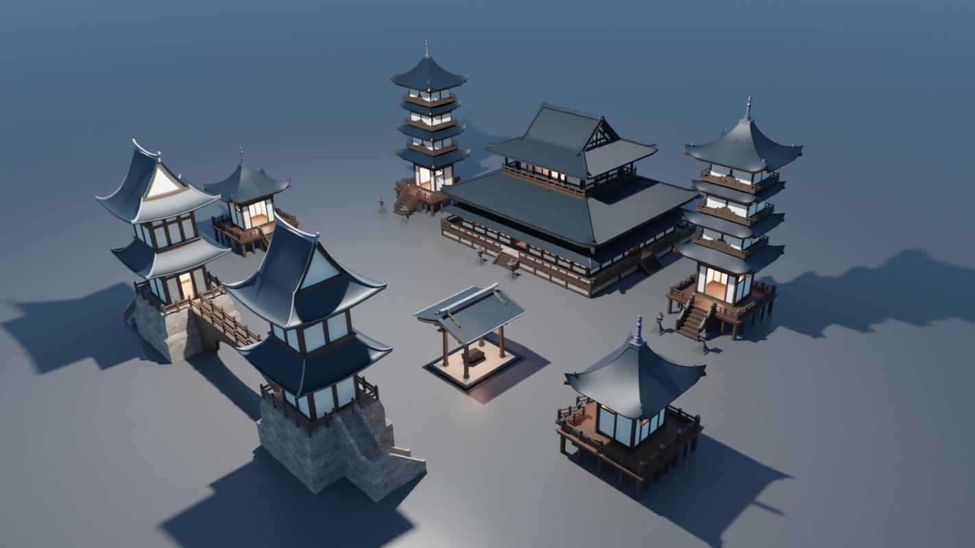 3D model set japanese temples