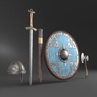 3D helmet shield sword