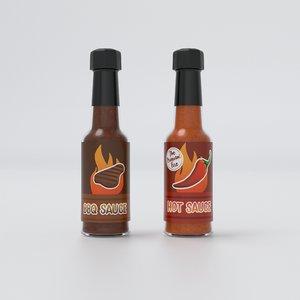 3D chilli sauce bottles