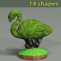package shapes trees plants 3D model