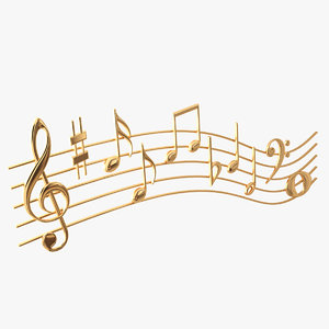 golden music notes waves 3D model