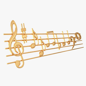 3D model golden music stave notes