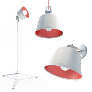 3D model lacreu lighting lamps