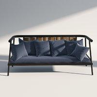 sofa wicker fabric 3D model