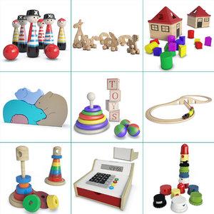 toys children wooden 3D model
