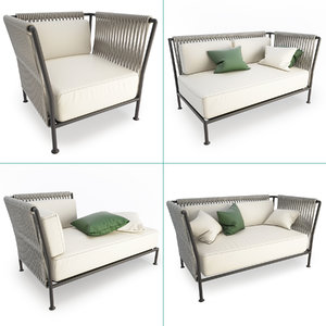 treble braided outdoor furniture 3D