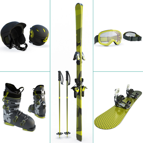 snow winter equipment ski 3D model