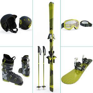 snow winter equipment ski 3D model