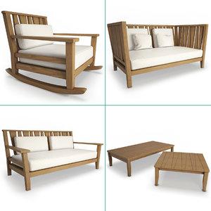 3D york wooden outdoor armchair model